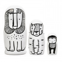 Set of 3 Nesting Dolls - WILD - Lion, Tiger, Monkey