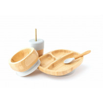 Toddler Plate, Straw Cup, Bowl & Spoon combo in Grey