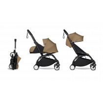 Complete BABYZEN stroller YOYO2  FRAME Black & 0+ newborn pack Toffee and 6+ color pack