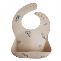 Silicone Baby Bib Printed Colors - Lilac Flowers
