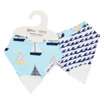 Double Sided Organic Chew Bib - Sail Away / Waves