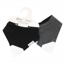 Double Sided Organic Chew Bib - Midnight / Graphite