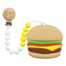 Teether with Clip - Burger