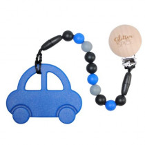 Teether with Clip - Royal Blue Car