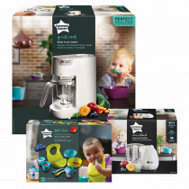 Tommee Tippee Quick Cook Baby Food Steamer Blender (White) and Baby Food Blender and Weaning Kit